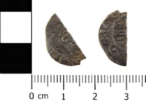 SWYOR-14B57D: Medieval coin; cut half penny of Henry III, Class 7a