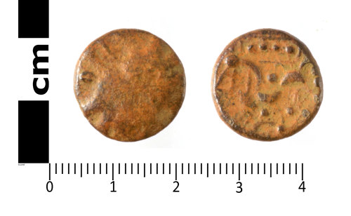 SWYOR-DA0899: Iron Age coin; core of a plated Domino stater