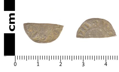 SWYOR-EB95F2: Medieval coin; cut half penny of John or Henry III, Class 5b - 7b
