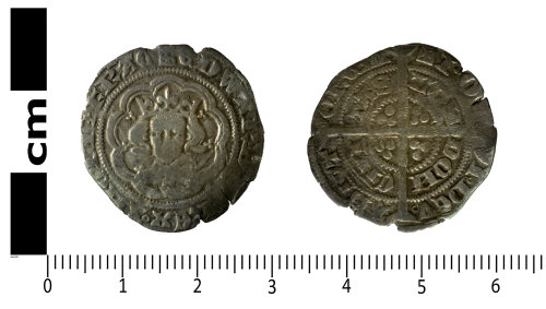 SWYOR-0F3C4D: Medieval coin; half groat of Edward III, Series C