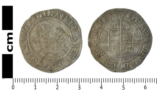 SWYOR-B8154F: Post Medieval coin; sixpence of Elizabeth I