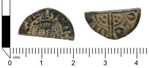 SWYOR-80B74C: Medieval coin; cut half penny of Henry III, Class 3c