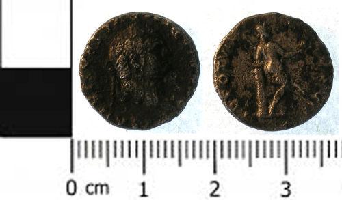 SWYOR-8C6A47: Roman coin; denarius of Titus as Caesar