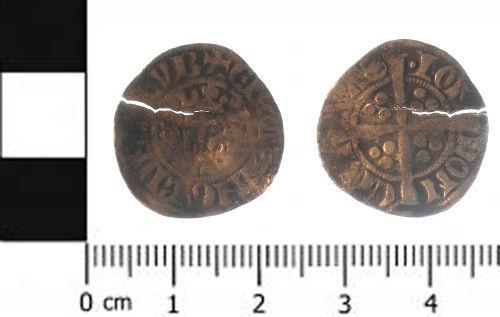 SWYOR-C5C571: 1. Medieval coin; penny of Edward I class 4e