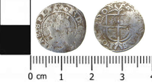SWYOR-FBB131: Post medieval coin; half groat of Elizabeth I