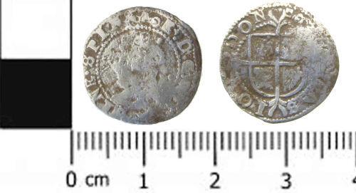 SWYOR-FBB131: Post medieval coin; half groat of Elizabeth I