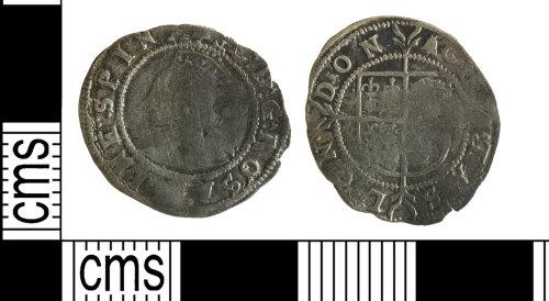 YORYM-E56FB1: Post-Medieval coin : halfgroat of Elizabeth I