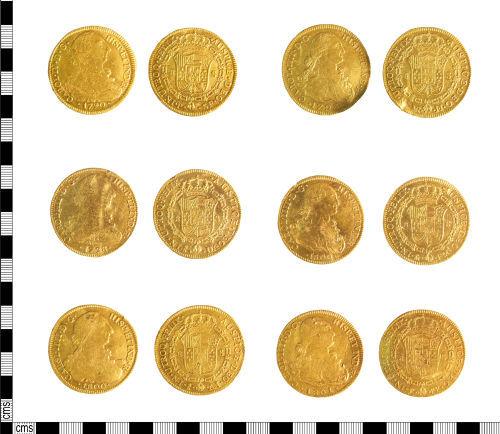 LIN-55BFE7: Spanish-American gold 8-escudos