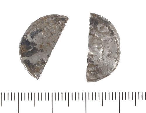 LIN-E8ADF8: Medieval silver cut halfpenny