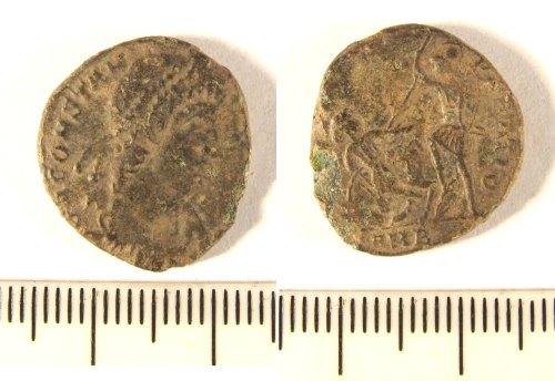 LIN-D2A916: Copper alloy Roman coin