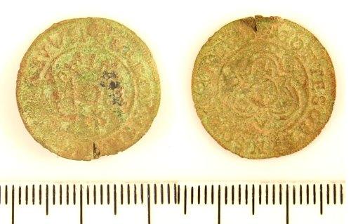 LIN-F60D56: Post-medieval copper alloy jetton