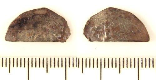 LIN-823FC0: Silver medieval cut halfpenny