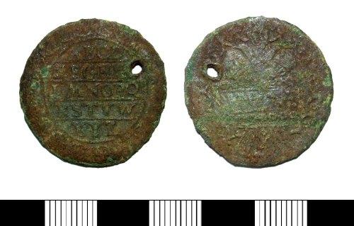 LIN-641CA3: Post-medieval copper alloy jetton