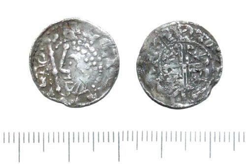 LIN-E6EE48: Medieval silver scottish penny
