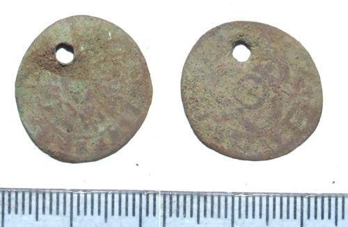 LIN-8E6454: Pierced Post-medieval copper alloy jetton