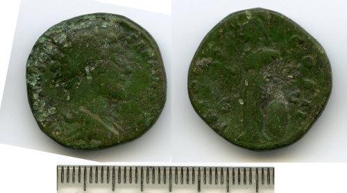BM-510C41: Roman coin: as or dupondius of Marcus Aurelius
