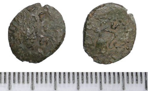 BM-5EBD0A: Roman coin: barbarous radiate, probably copying a coin of Tetricus I
