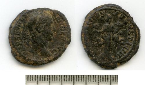 BM-68AB93: Roman coin: probable limesfalsum of an as of Severus Alexander