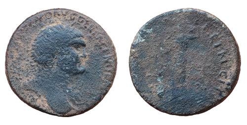 BM-710A84: Roman coin: contemporary copy of a sestertius of Trajan