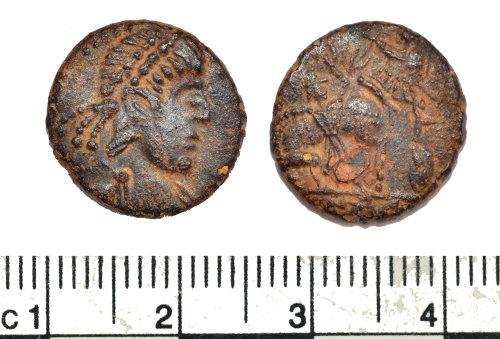 BM-8A146A: Roman coin: nummus, contemporary copy of a coin of the House of Constantine