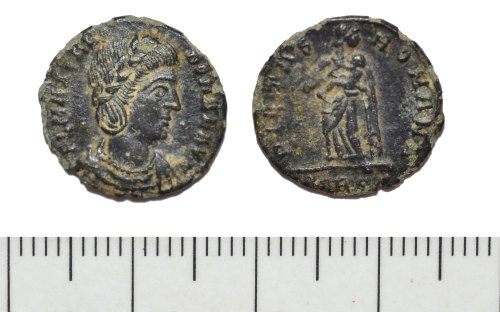 A resized image of Roman coin: nummus of Theodora