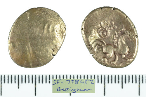 SF-3F8452: Iron Age coin: gold stater struck for the East Anglian region