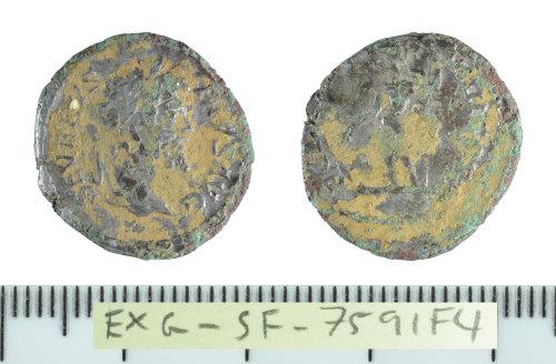 SF-7591F4: Roman coin: plated denarius struck for Septimius Severus