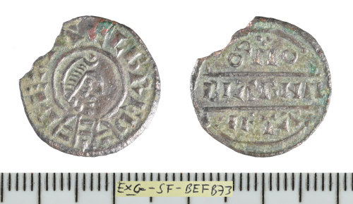 SF-BEFB73: Early Medieval coin: base silver penny of Alfred the Great