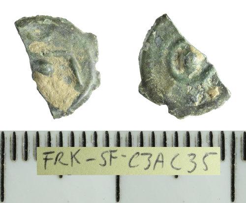 SF-C3AC35: Iron Age coin: broken copper-alloy Kentish potin
