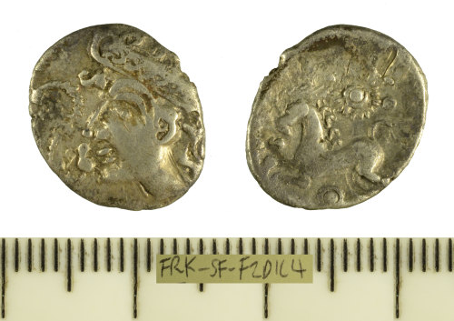 SF-F2D1C4: Iron Age coin: silver unit struck for the East Anglian region