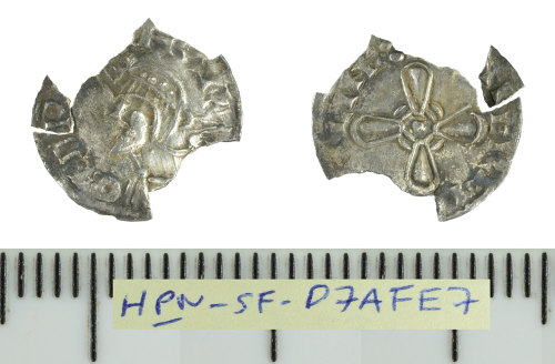 SF-D7AFE7: Early Medieval coin: incomplete silver hammered penny struck for Harold I