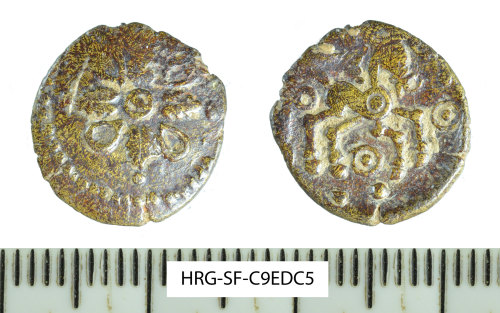 SF-C9EDC5: Iron Age coin: debased gold quarter stater attributed to Addedomaros
