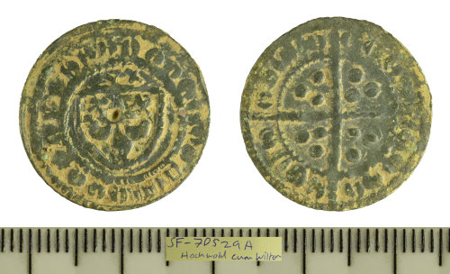SF-7D529A: Copper-alloy English jetton dating c. 1280-1340