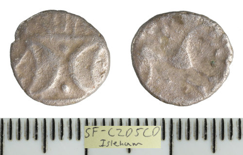SF-C2D5CD: Iron Age coin: silver unit of the East Anglian region