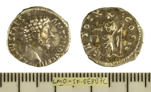 SF-BE8B7C: Roman coin: silver denarius struck for Marcus Aurelius as Caesar