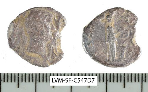 SF-C547D7: Roman coin: incomplete denarius of Hadrian