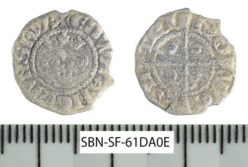 SF-61DA0E: Medieval coin: Edward I halfpenny of the Newcastle mint