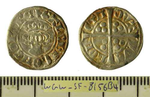 SF-8156B4: Medieval coin: silver hammered esterling struck for Gaucher of Chatillon