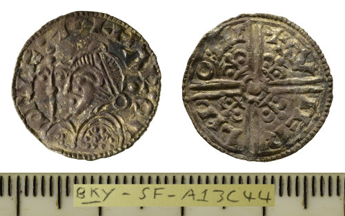 SF-A13C44: Late Early-Medieval coin; silver hammered penny struck for Harold I