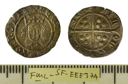 A resized image of Medieval coin; silver hammered penny struck for Henry VI