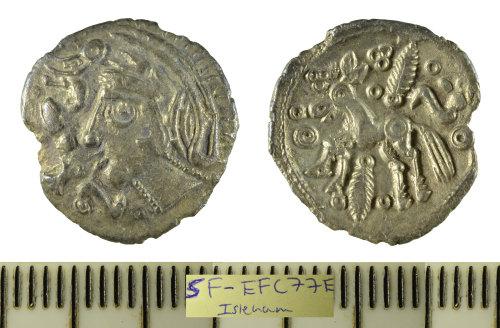 SF-EFC77E: Iron Age coin: silver unit struck for the Trinovantes/Eastern Region, 'Duck Helmet' type