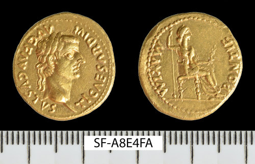 SF-A8E4FA: Roman coin: gold aureus of Tiberius