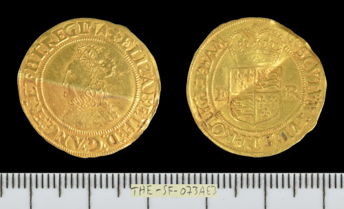 SF-073AE3: Post-Medieval coin: gold crown of Elizabeth I