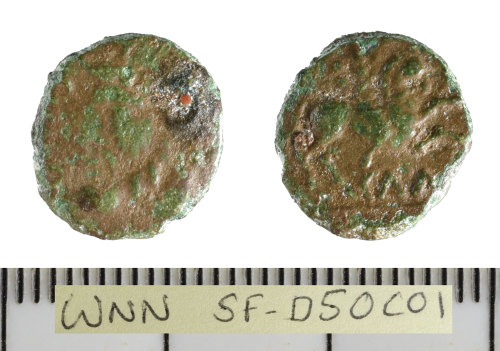 SF-D50C01: Iron Age coin: bronze unit of Cunobelin
