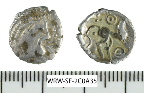 SF-2C0A35: Iron Age coin: silver unit of 'Odin Eye' type struck for the East Anglian region