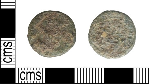 A resized image of Roman coin: illegible copper alloy radiate or nummus