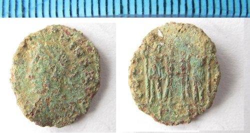 NMS-00ADE5: Roman coin: Irregular copper alloy nummus,  House of Constantine