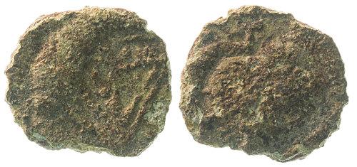 NMS-2F35CE: Irregular copper alloy nummus, c.AD330-48