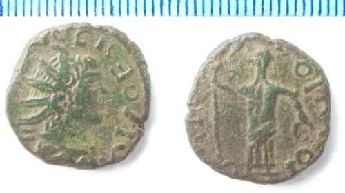 NMS-4AF878: Roman coin: Irregular copper alloy radiate of Tetricus II