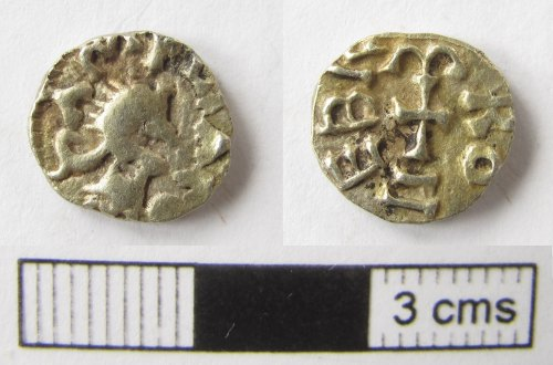 NMS-73964C: Early Medieval coin : Merovingian tremissis
